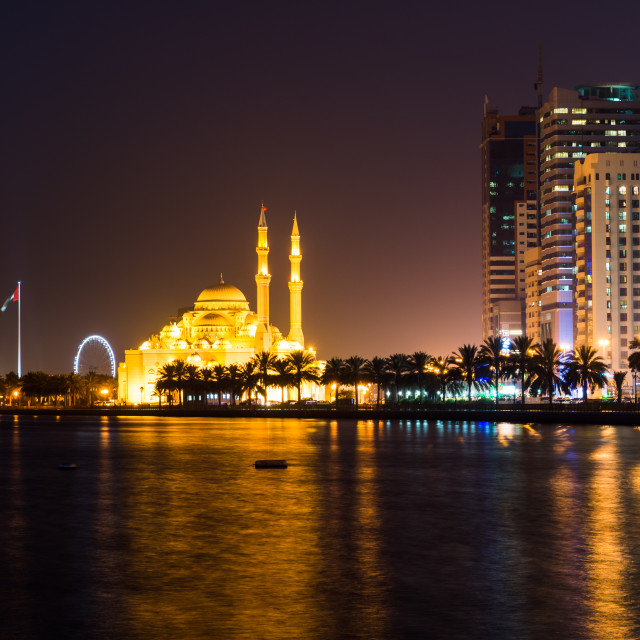 """Al Noor mosque in Sharjah reflected in the lake"" stock image"