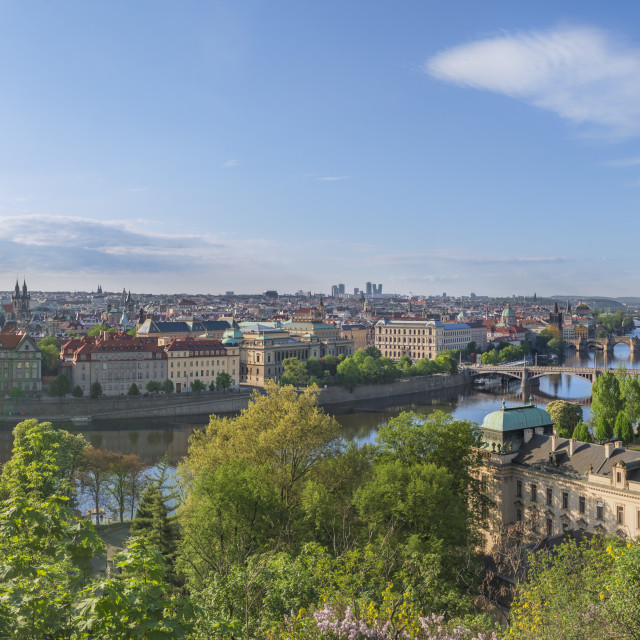 """Prague city panorama in summer"" stock image"