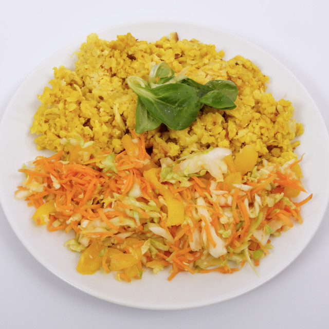 """""""Baked Bulgar with cauliflower and vegetable salad on a white"""" stock image"""