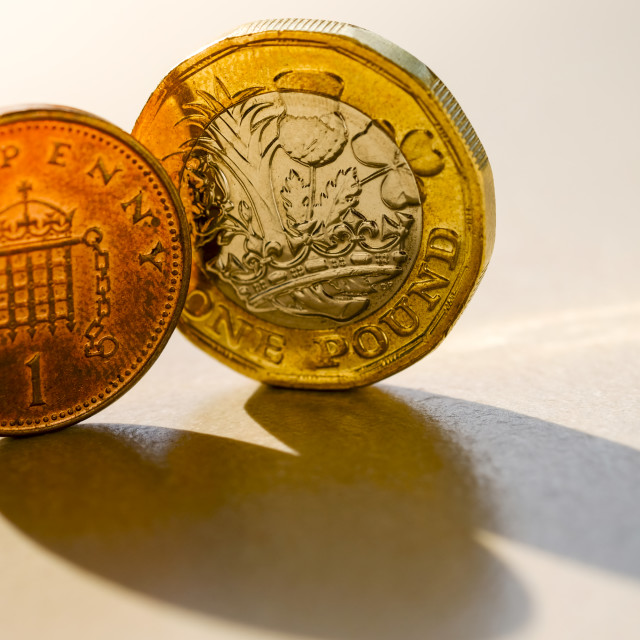 """One Pound and One Penny Coins"" stock image"