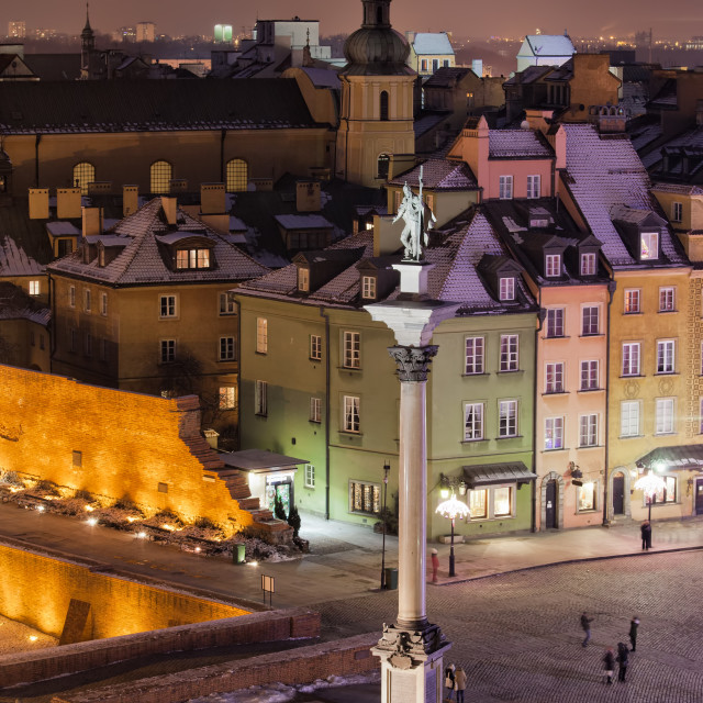 """""""Old Town of Warsaw in Poland by Night"""" stock image"""