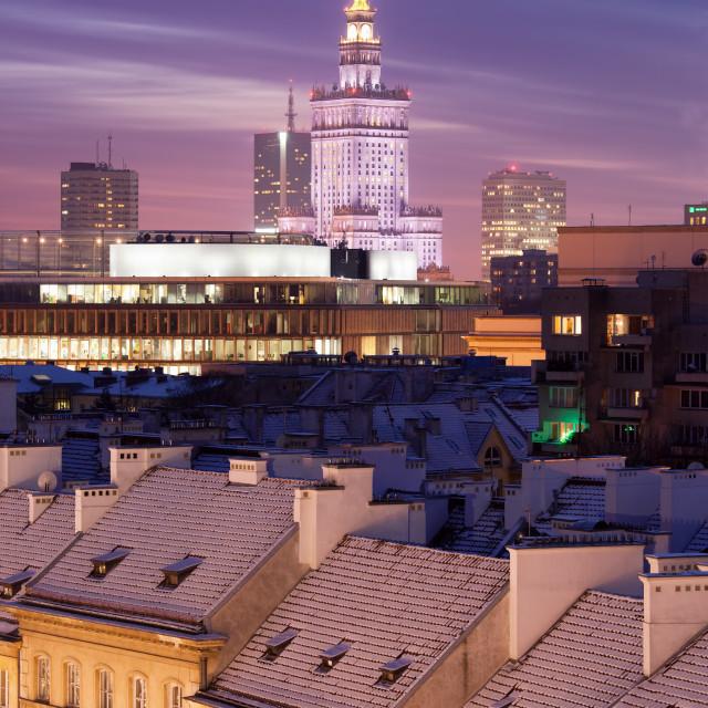 """Warsaw Skyline at Dusk in Poland"" stock image"