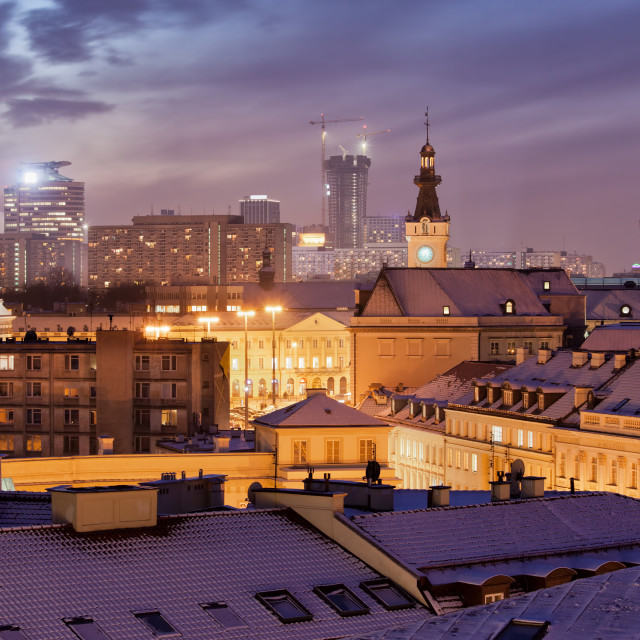 """City of Warsaw Night Winter Cityscape"" stock image"