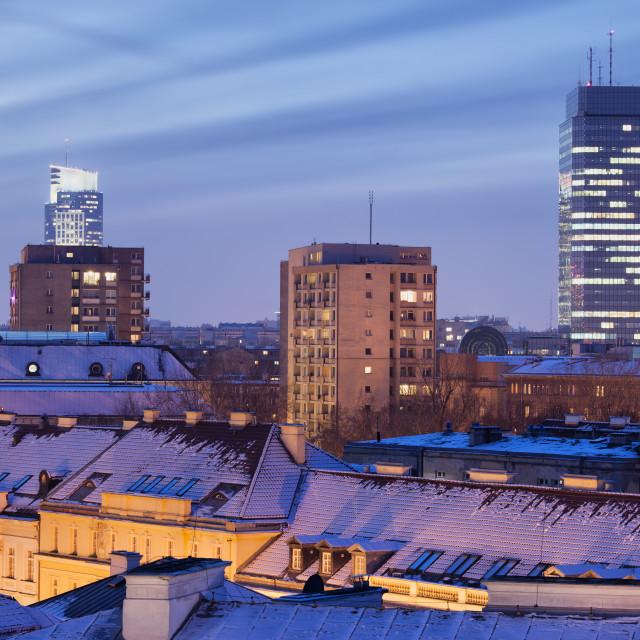 """City of Warsaw Winter Night Skyline"" stock image"