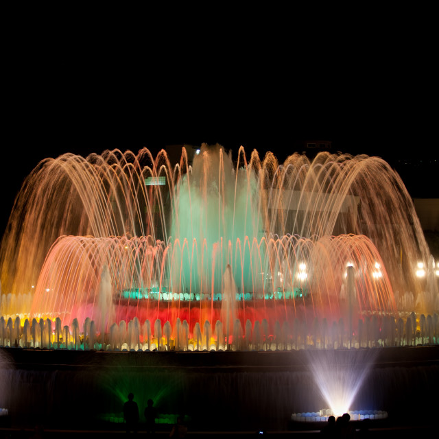 """""""Magic Fountain by Night in Barcelona"""" stock image"""