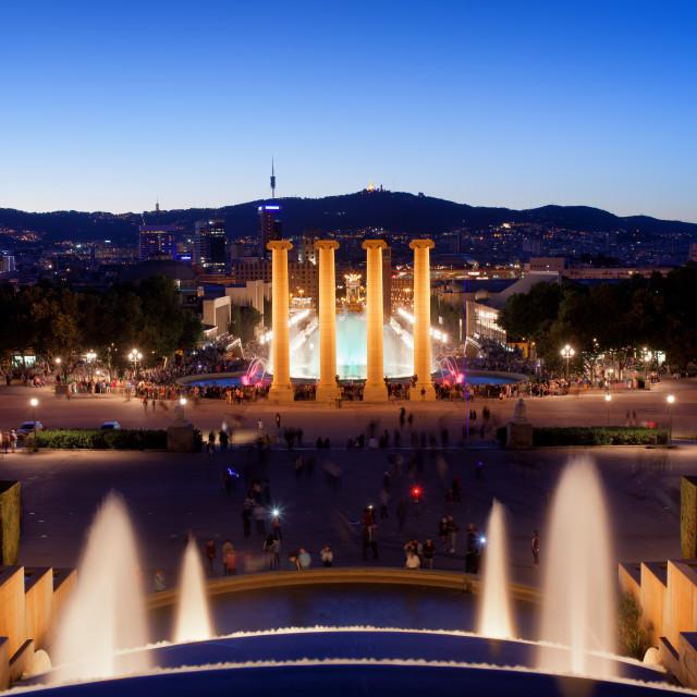 """Barcelona Night Cityscape"" stock image"