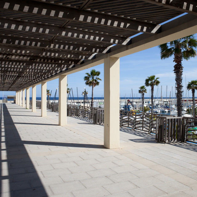 """""""Passageway at Port Olympic in Barcelona"""" stock image"""