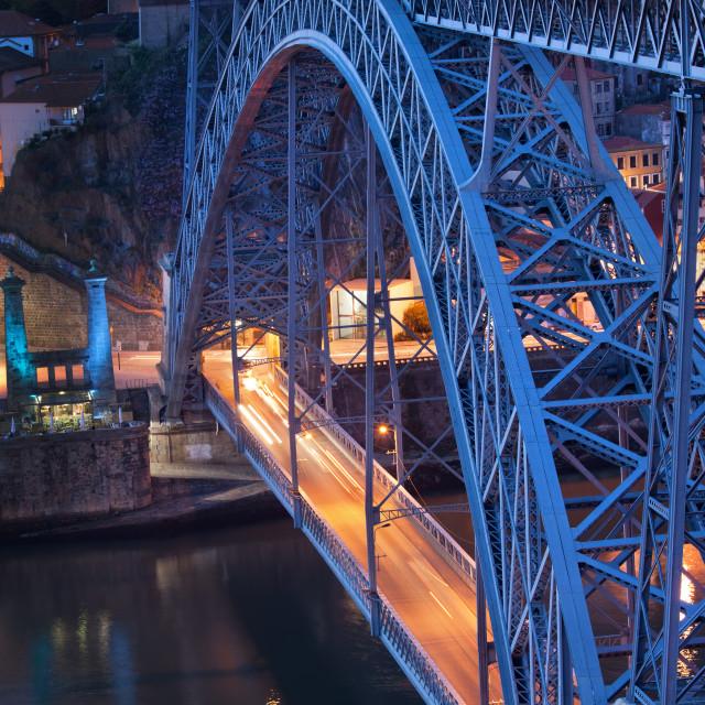 """""""Ponte Luiz I in Porto at Dusk"""" stock image"""