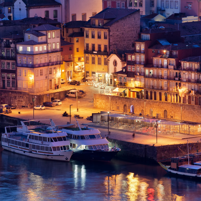 """""""Porto by Night in Portugal"""" stock image"""