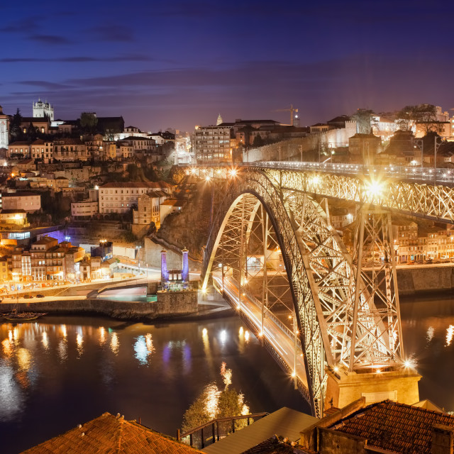 """""""City of Porto by Night in Portugal"""" stock image"""