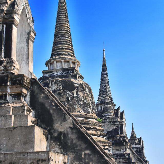"""Wat Phra Si Sanphet, a Buddhist temple in Ayutthaya, Thailand"" stock image"