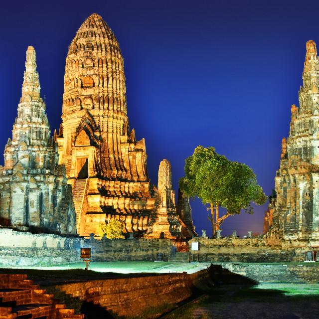 """Wat Chaiwatthanaram, a Buddhist temple in Ayutthaya, Thailand"" stock image"