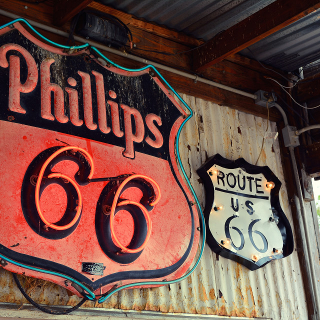 """Phillips 66 gas station sign and logo."" stock image"