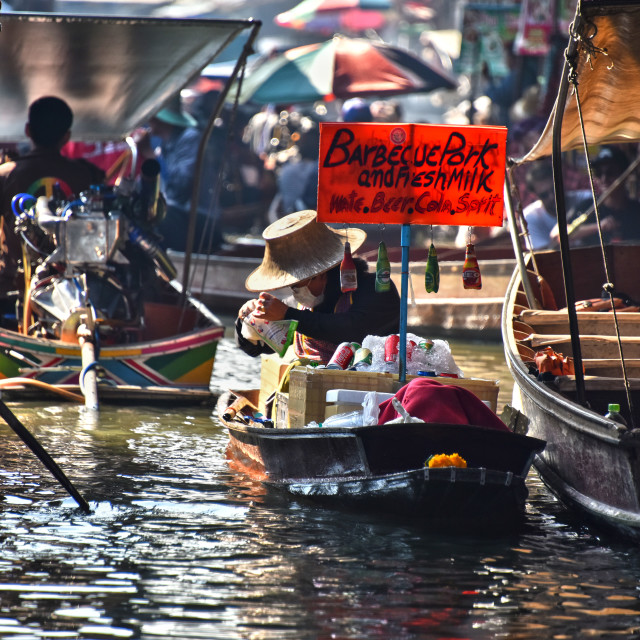 """Boats on Damnoen Saduak floating market"" stock image"