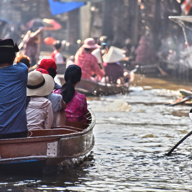 """Tourists moving on boats on Damnoen Saduak floating market"" stock image"