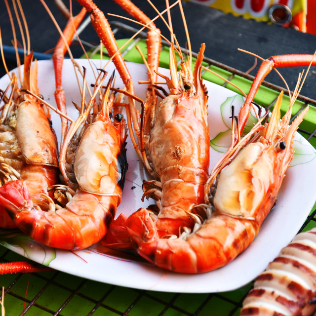 """Prawn food in the street restaurant in Thailand"" stock image"