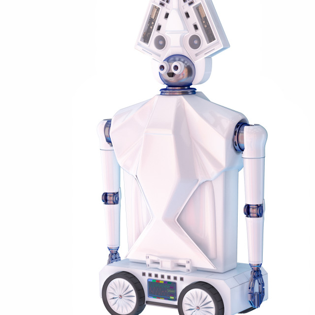 """""""Robot toy on wheels for kid. White plastic robotic device."""" stock image"""