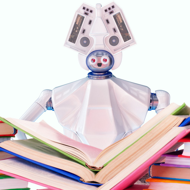 """""""Robot teacher with book for kid. White plastic robotic device."""" stock image"""