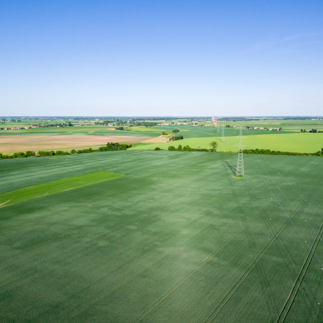 """Aerial view of high voltage line over field of green grain"" stock image"