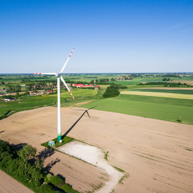"""Aerial view of windmill at the countryside"" stock image"
