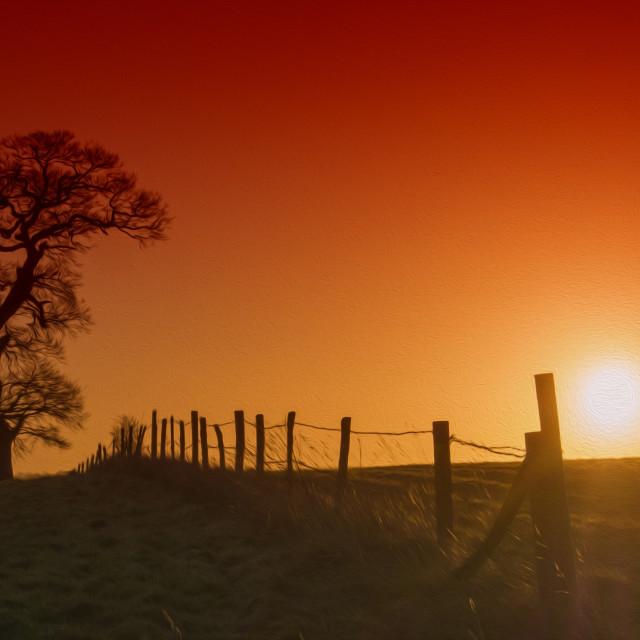 """""""Dawn Sunrise Cobham"""" stock image"""
