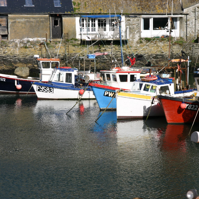 """Boats moored in Polperro"" stock image"