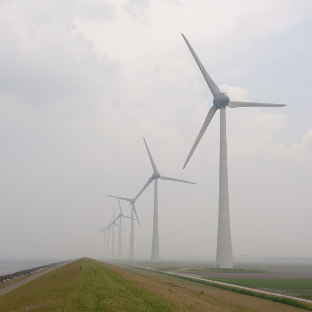 """""""Nr Urk, The Netherlands Windturbines leading away in the mist between the..."""" stock image"""