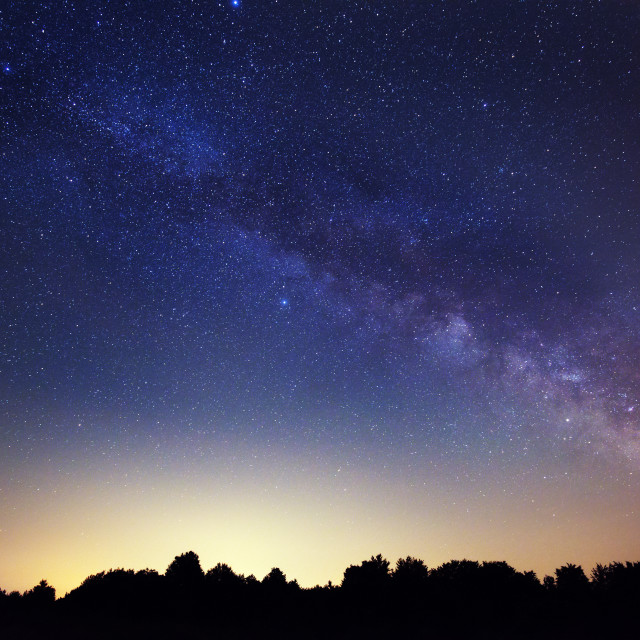 """Milky Way in the countryside"" stock image"