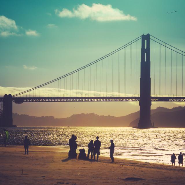 """California Beach Friends"" stock image"