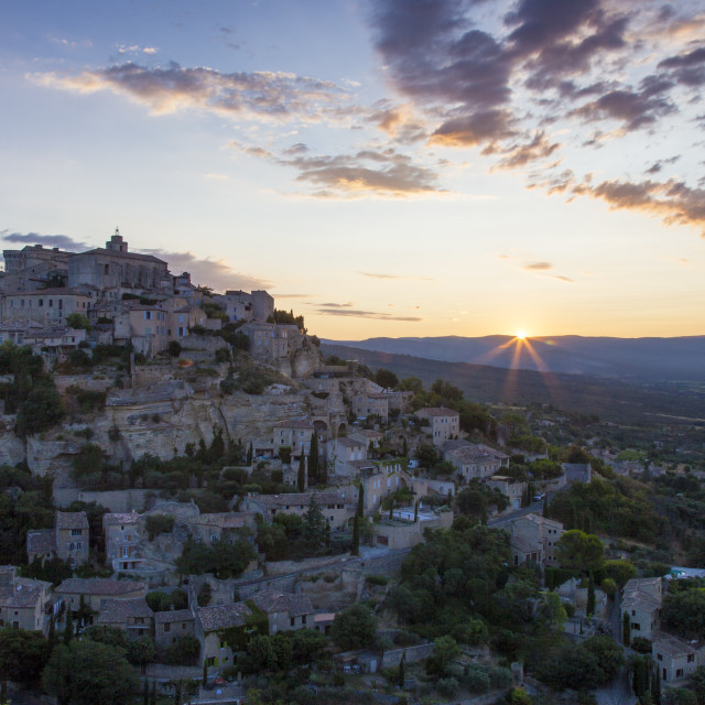 """""""Sunrise over Gordes in the Luberon, Provence, France"""" stock image"""