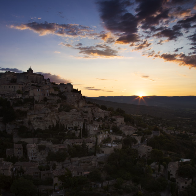 """""""Sunrise over village of Gordes in the Luberon, Provence France"""" stock image"""
