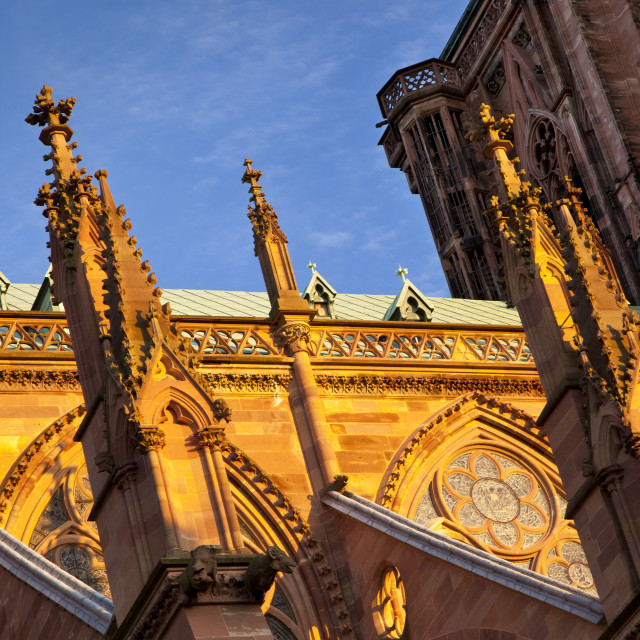 """The massive and beautifully detailed Strasbourg Cathedral at sunset, Alsace..."" stock image"
