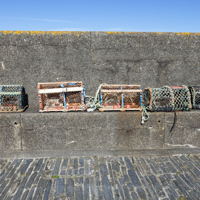 """""""Lobster cages in Port Erin on the Isle of Man"""" stock image"""