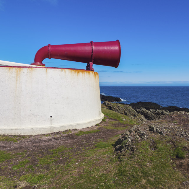 """""""Foghorn on the Lighthouse on Isle of Man"""" stock image"""