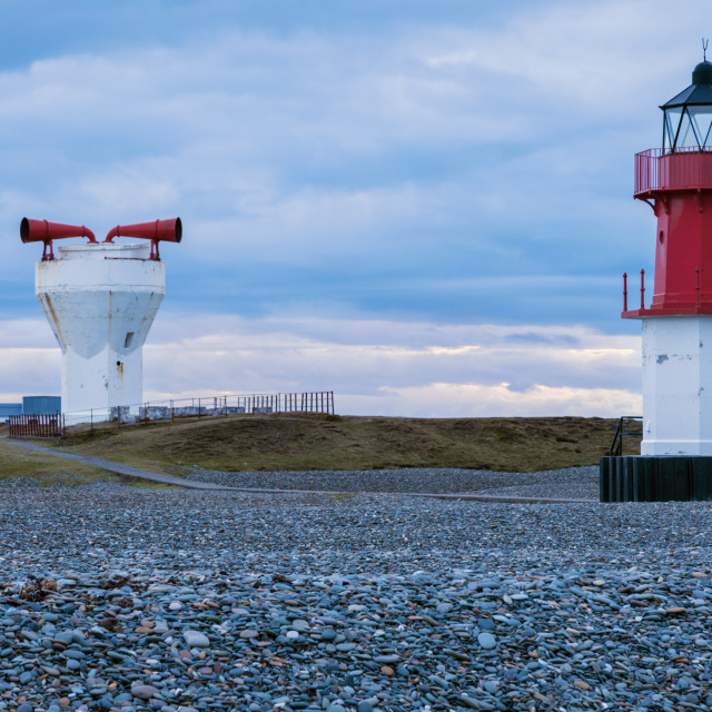 """""""Point of Ayre Lighthouses and foghorn on the Isle of Man"""" stock image"""