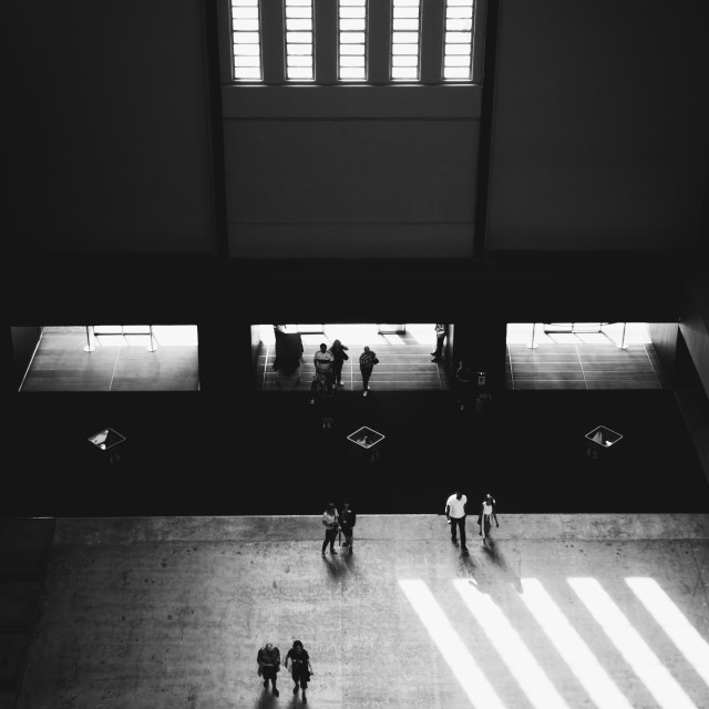 """visitors at the entrance to the Turbine Hall , Tate Modern Art Gallery."" stock image"