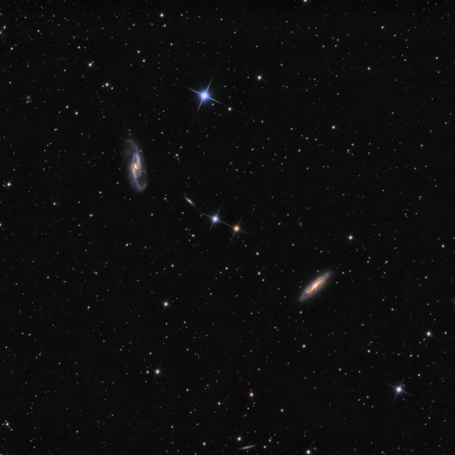 """Galaxy NGC 4536, NGC 4527 and NGC 4533 in constellation Virgo"" stock image"