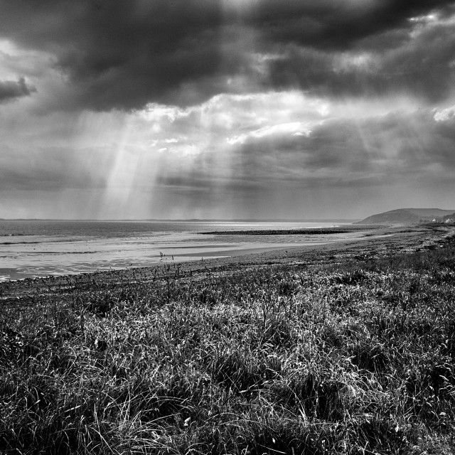 """Sea, Sunlight & Storm clouds, Dumfries and Galloway,"" stock image"