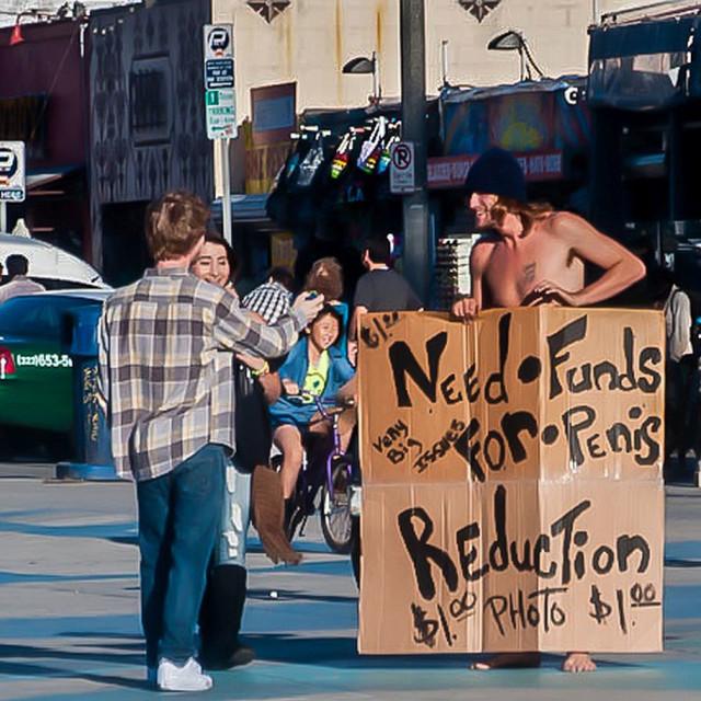 """Man panhandling in Venice Beach"" stock image"