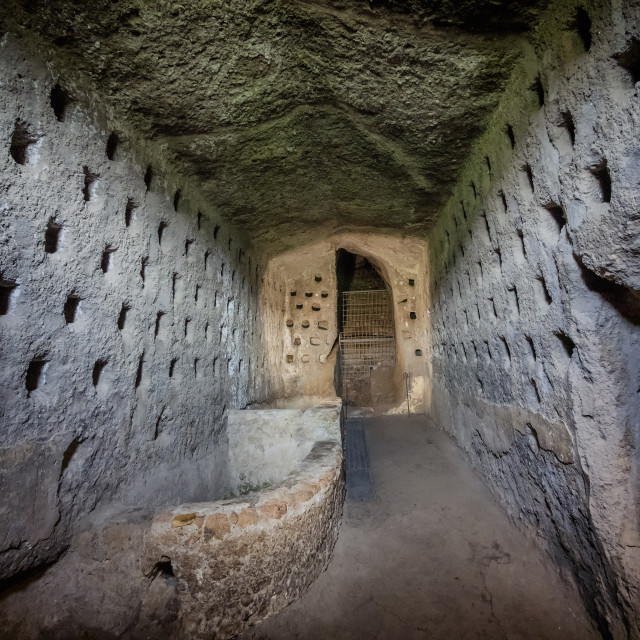 """Etruscan caves under Orvieto made for breeding birds and defence Umbria"" stock image"