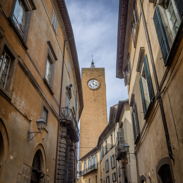 """The bell clocktower in Orvieto Umbria,"" stock image"