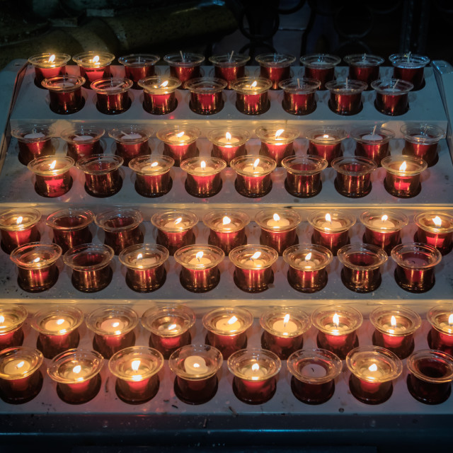 """Candles in The Cathedral duomo in Orvieto Umria, Italy"" stock image"