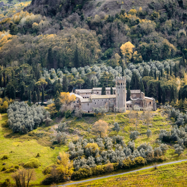 """Castle with landscape from the walls of Orvieto, Umbria"" stock image"