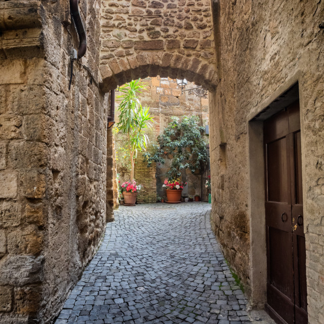 """Narrow small streets in the old Etruscan city of Orvieto in Umbria"" stock image"