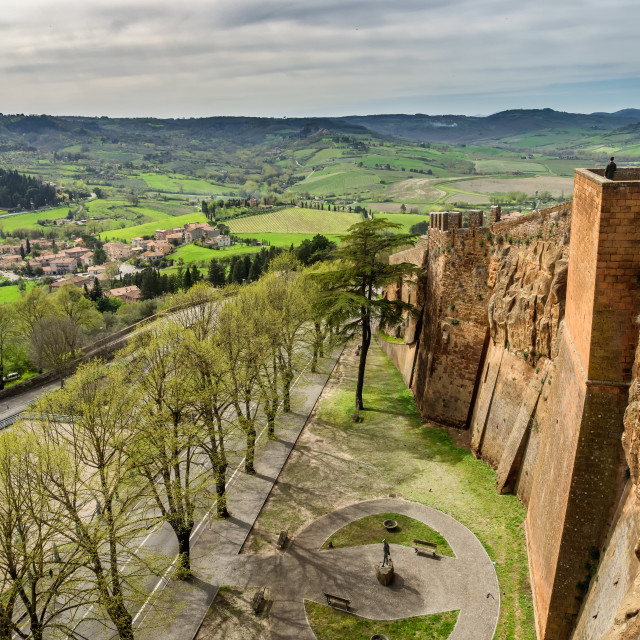"""The old etruscan city walls in Orvieto, Umbria"" stock image"