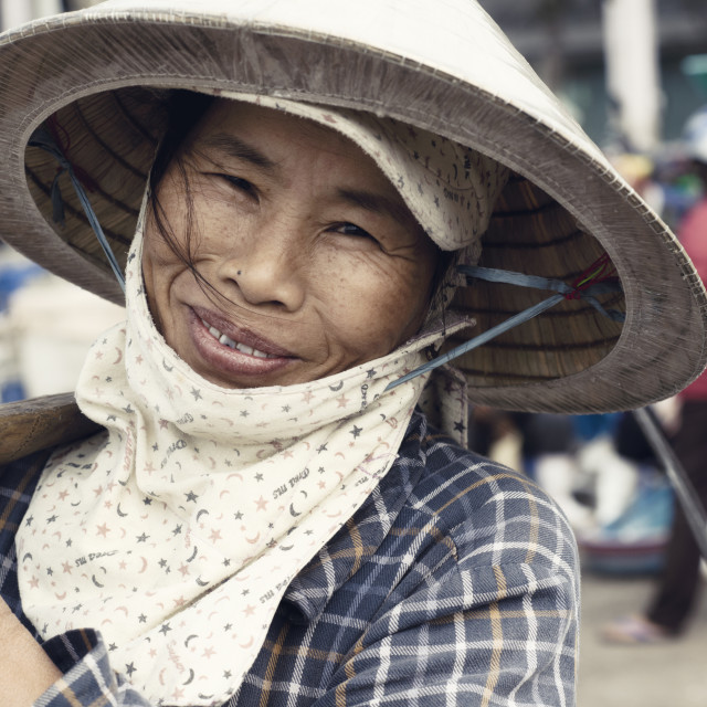 """Close Up Portrait Of A Smiling Vietnamese Woman"" stock image"