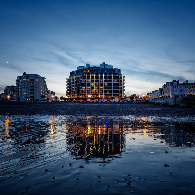 """Eastbourne Seafront from the Beach"" stock image"