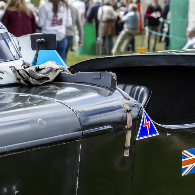 """Racing car and helmet"" stock image"