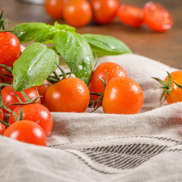 """""""Small red cherry tomatoes"""" stock image"""