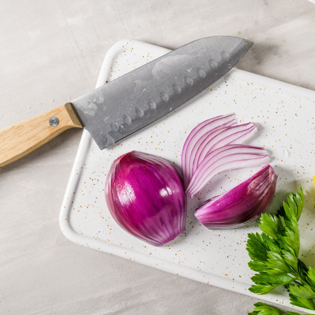 """""""Sliced red onion, lemon and parsley leaves"""" stock image"""